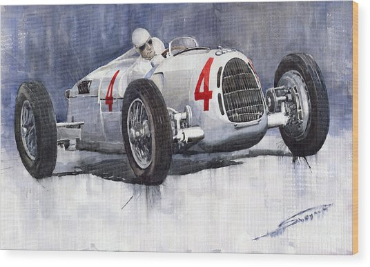 Auto Union C Type 1937 Monaco Gp Hans Stuck Wood Print