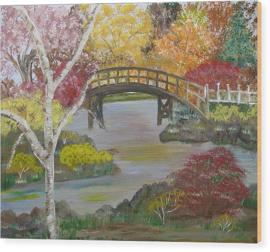 Autum Bridge Wood Print by Mikki Alhart