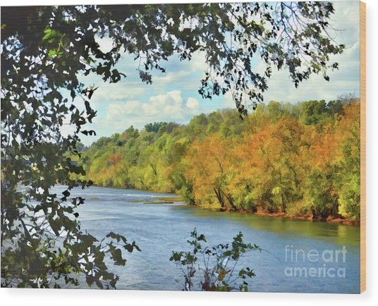 Autumn Along The New River - Bisset Park - Radford Virginia Wood Print