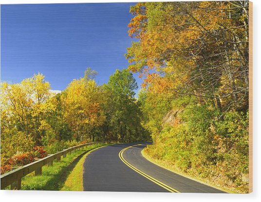 Autumn Appalachian Drive Wood Print by Darrell Young