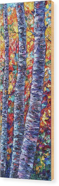 Autumn  Aspen Trees Contemporary Painting  Wood Print