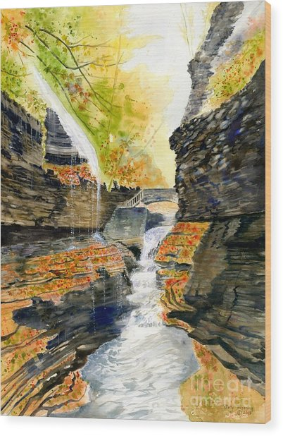 Autumn At Rainbow Falls  Wood Print