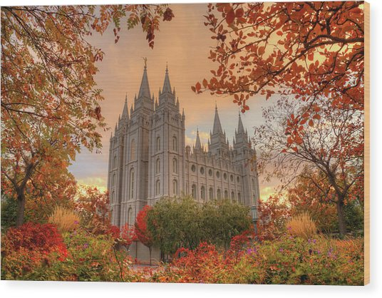 Autumn At Temple Square Wood Print