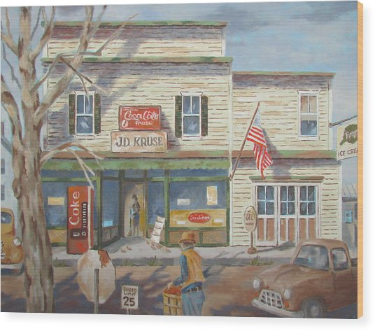 Autumn At The Corner Country Store Wood Print