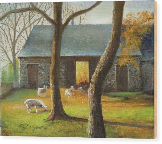 Autumn At The Sheep Barn Wood Print