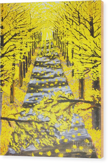 Autumn Avenue Wood Print