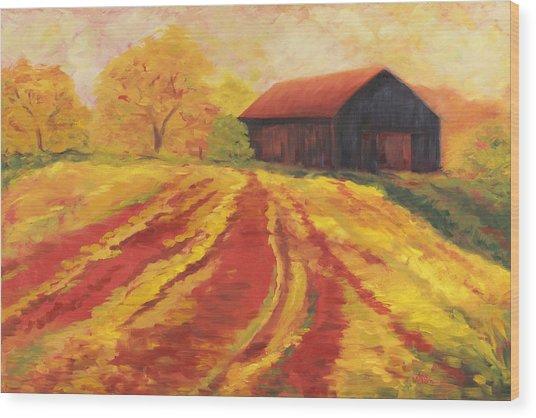 Autumn Barn Wood Print by Amy Welborn