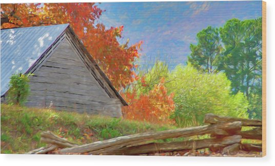 Autumn Barn Digital Watercolor Wood Print