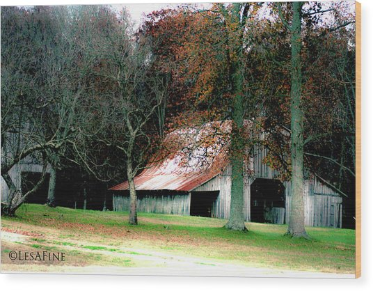 Autumn Barn In Alabama Wood Print