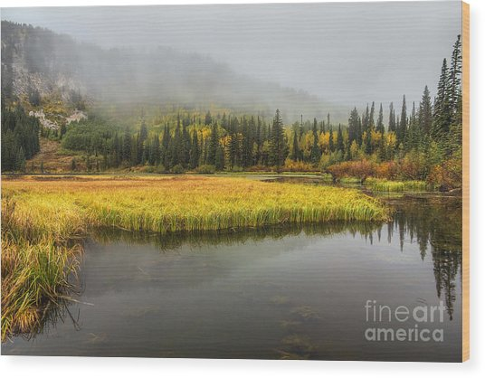 Autumn Begins At Silver Lake Wood Print