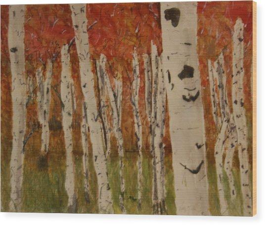 Autumn Birch Forest Wood Print