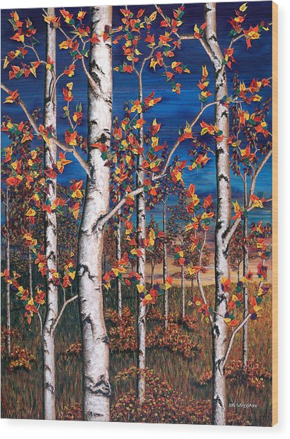 Autumn Birch Forest Wood Print