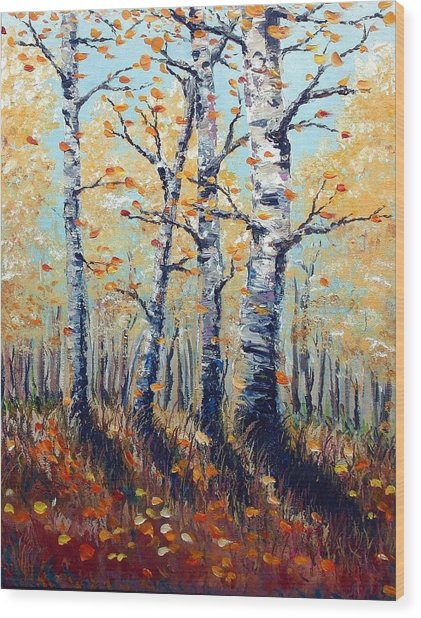 Autumn Birch Wood Print by Wesley Pack