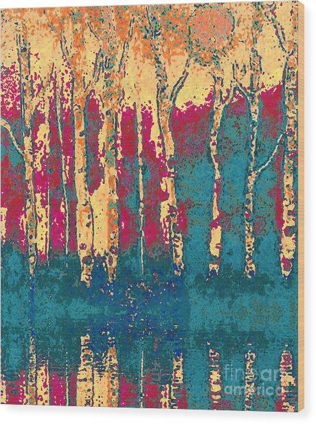 Autumn Birches Wood Print