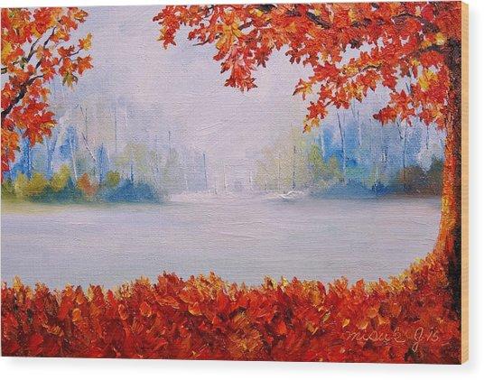 Autumn Blaze Maple Trees Wood Print