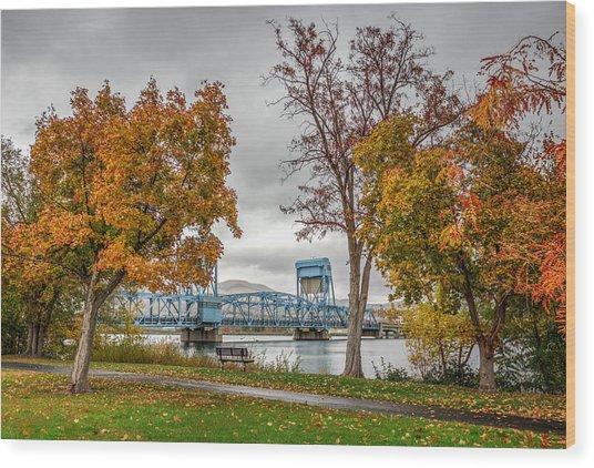 Autumn Blue Bridge Wood Print