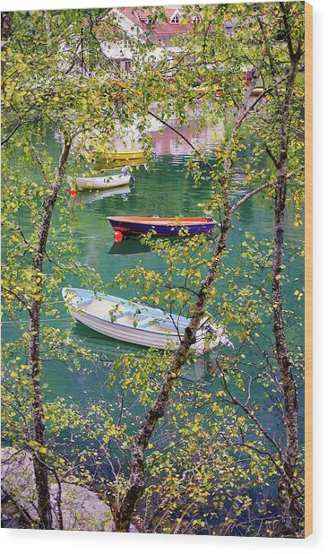 Autumn. Boats Wood Print