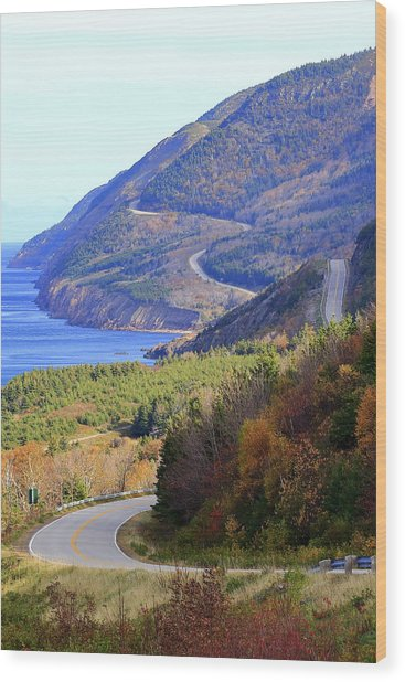 Autumn Color On The Cabot Trail, Cape Breton, Canada Wood Print