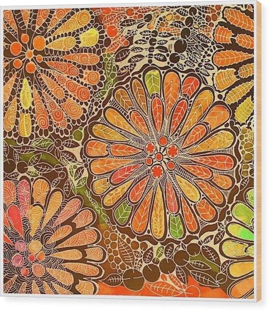 Autumn  Colors Mandalas  Wood Print