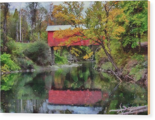 Autumn Colors Over Slaughterhouse. Wood Print