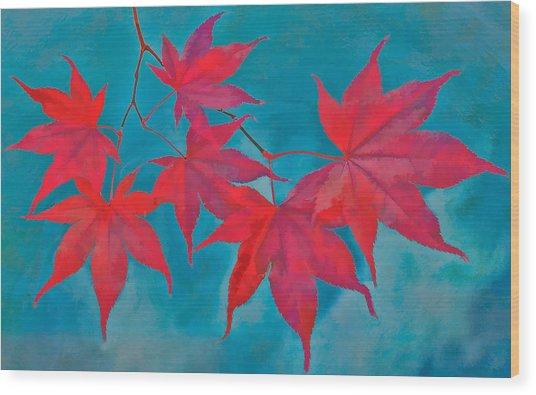 Autumn Crimson Wood Print