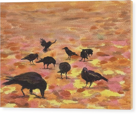 Autumn Crows Wood Print by Mimi Boothby