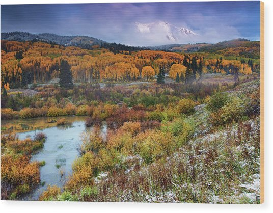 Wood Print featuring the photograph Autumn Dusting by John De Bord