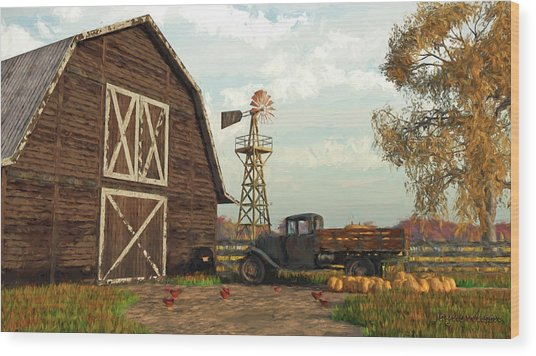 Autumn Farm Scene Wood Print