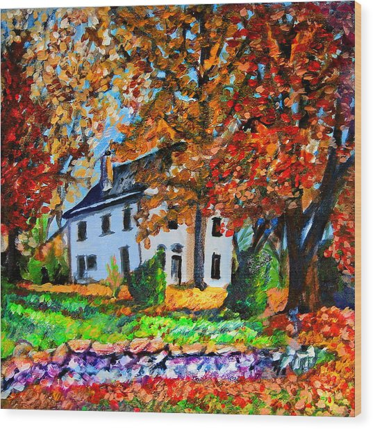 Autumn Farmhouse Wood Print by Laura Heggestad