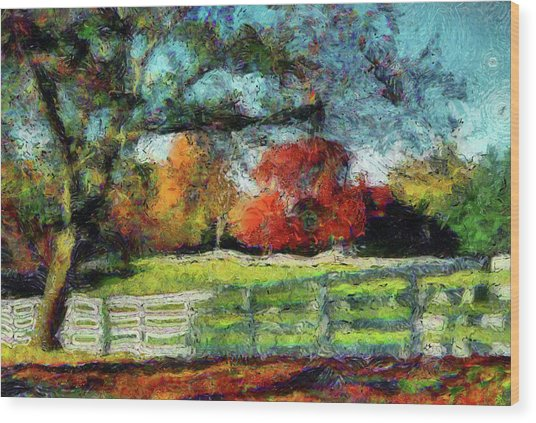 Autumn Field On The Farm Wood Print