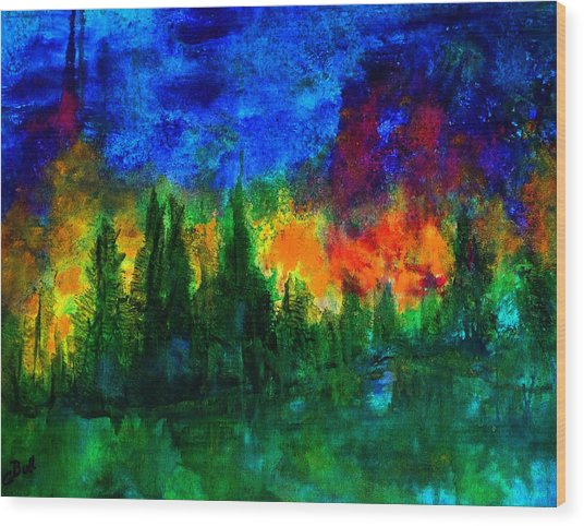 Autumn Fires Wood Print