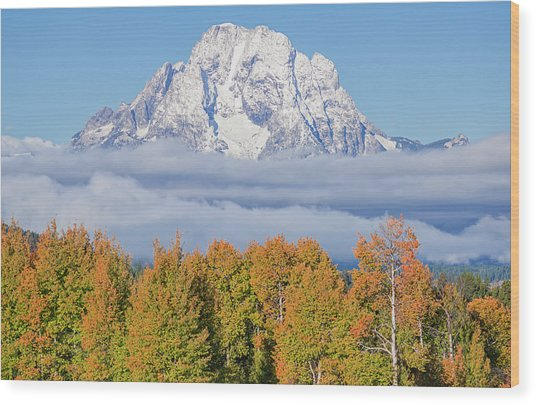 Autumn Fog Below Mt. Moran Wood Print