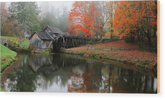 Autumn Foggy Morning At Mabry Mill Virginia  Wood Print