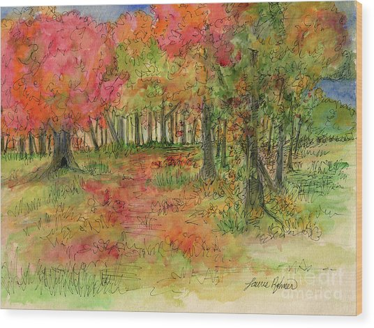 Autumn Forest Watercolor Illustration Wood Print