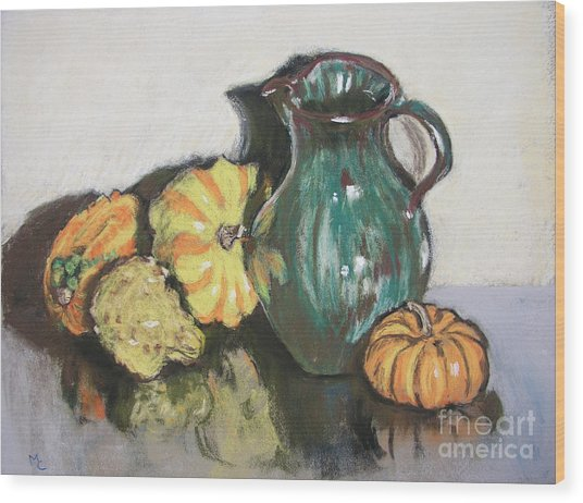 Autumn Gourds Wood Print by Mary Capriole