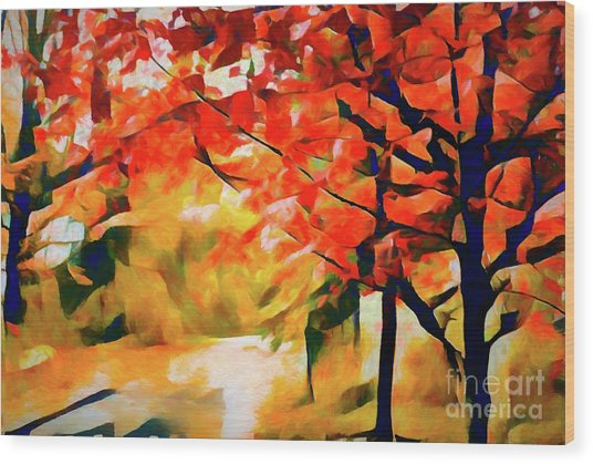 Glorious Foliage On The Rail Trail - Abstract Wood Print