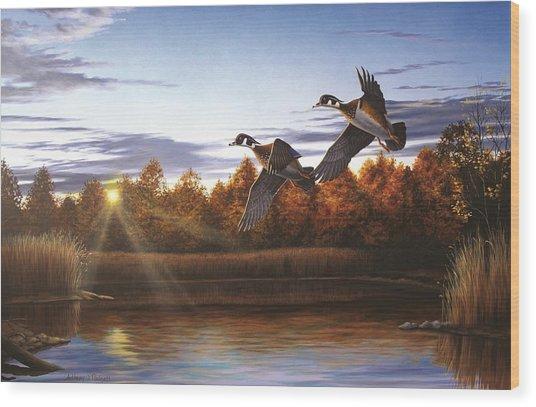 Autumn Home - Wood Ducks Wood Print