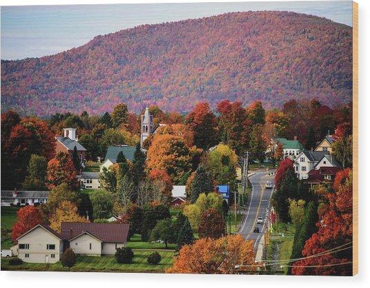 Autumn In Danville Vermont Wood Print