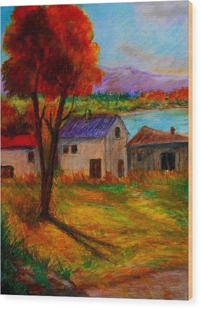 Autumn In Lake Prespa Wood Print