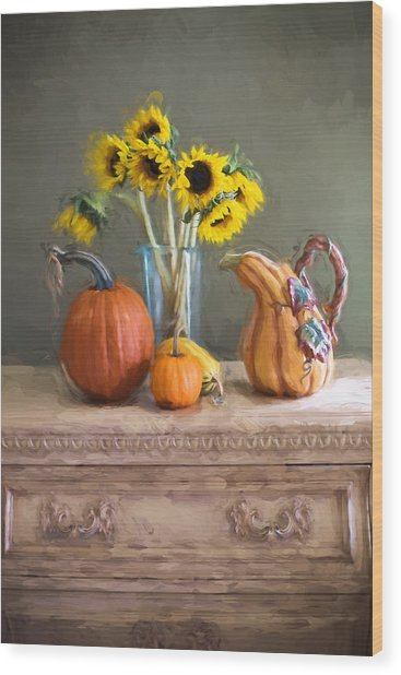 Wood Print featuring the digital art Autumn by Jill Wellington
