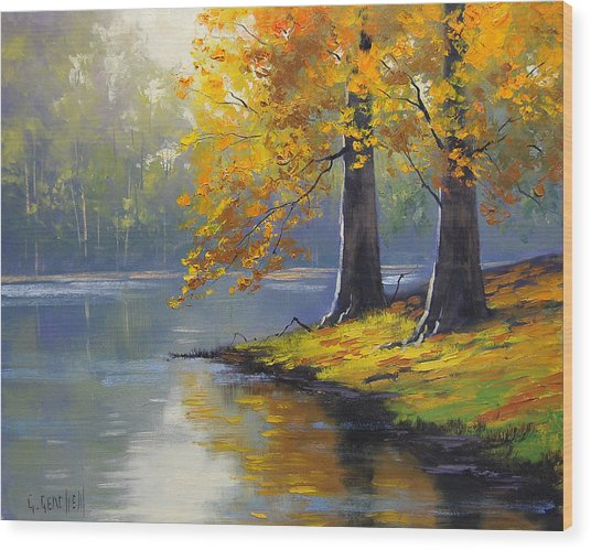 Autumn Lake Print Wood Print