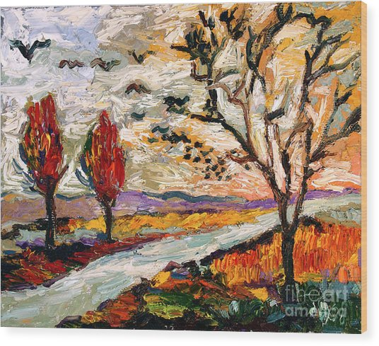 Autumn Landscape Oil Painting Heading South Wood Print by Ginette Callaway