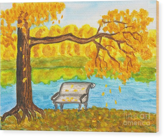 Autumn Landscape With Tree And Bench, Painting Wood Print