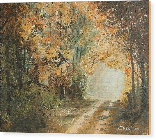 Autumn Lane Wood Print