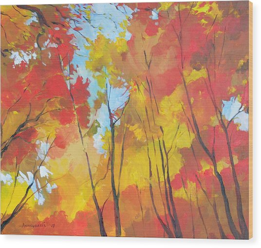 Autumn Leaves Wood Print by Alessandro Andreuccetti