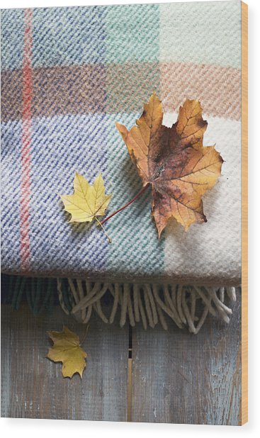 Autumn Leaves On Wool Plaid Blanket Wood Print