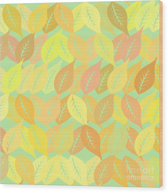Autumn Leaves Pattern Wood Print