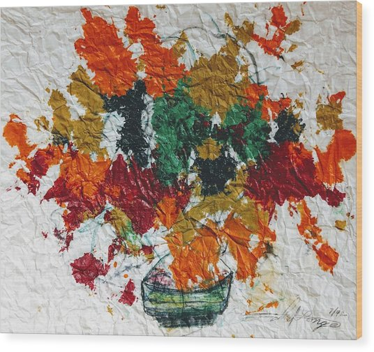 Autumn Leaves Plant Wood Print