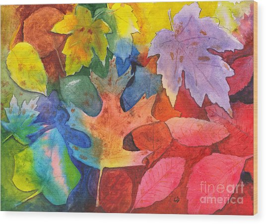 Autumn Leaves Recycled Wood Print