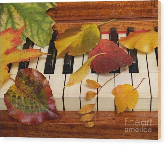 Autumn Leaves Tickle The Ivories Wood Print